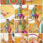 Hula Hoop Rug tissé à tricoter avec les doigts bricolage