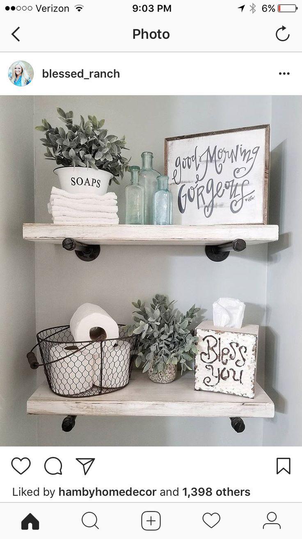 Idées de décoration de maison de ferme rustique pour votre salle de bain. Idée simple et unique …
