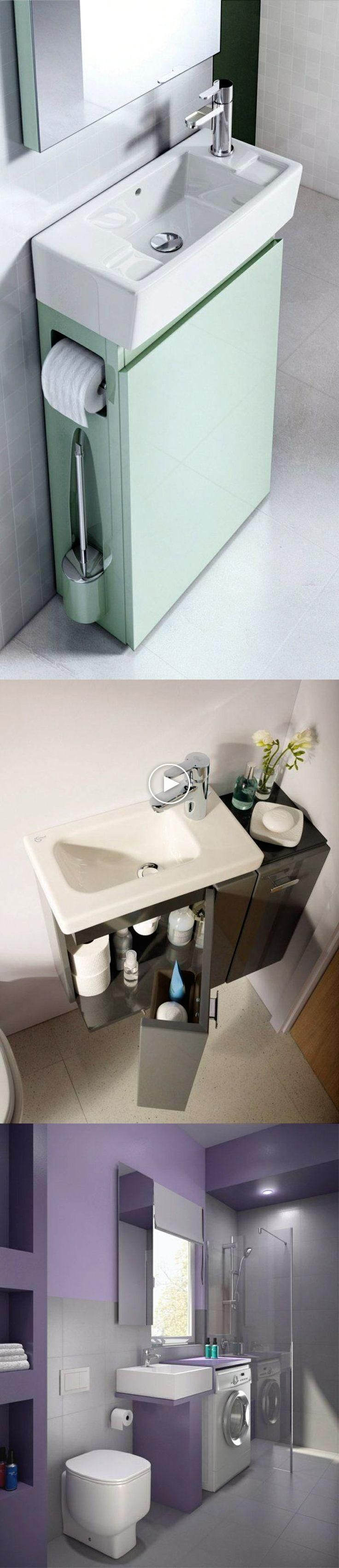 Idées petites salles de bains: Mobilier de salle de bains moderne peu encombrant; Évier armoi…
