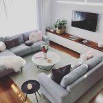 Idées scandinaves; salon gris; décorations de salon confortables; moderne ...