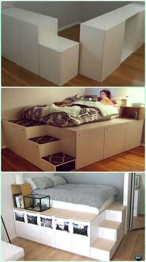 Instructions de bricolage IKEA lit de plate-forme lit de lit … – #bed #Cabinet #DIY #ikea …