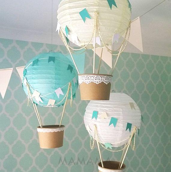 Kit de décoration de montgolfière bricolage, décoration de chambre d'enfant en ballon à air chaud, décoration de fête de naissance, idées de chambre d'enfant bébé, thème de voyage chambre d'enfant – jeu de 3