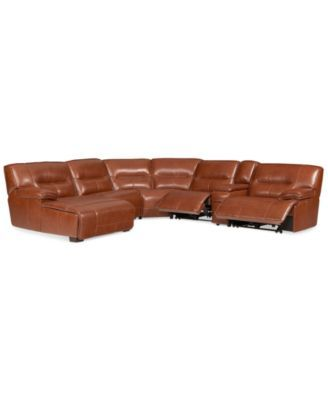 LIQUIDATION! Sofa sectionnel 6 pièces en cuir Beckett avec chaise, console et 2 inclinables électriques, créé pour Macy's