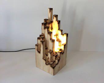 Lampe de table insolite, lampe en bois, lampe de bureau, lampadaire, éclairage abstrait, insolite lampe, lampe de table, lampe disposent, lampe éclectique, bois brûlé