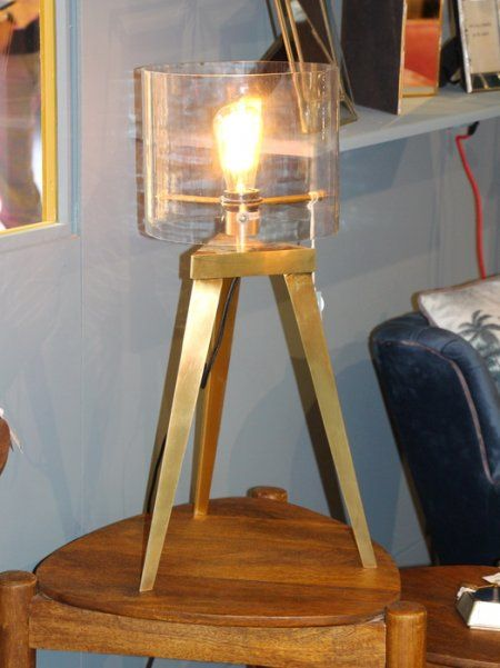 Lampe trépied abat-jour cylindrique verre Chehoma