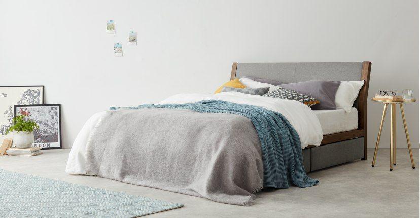 Lansdowne, lit à tiroirs king size (160 x 200) avec sommier, noyer et gris héron – Lits king-size – Lits