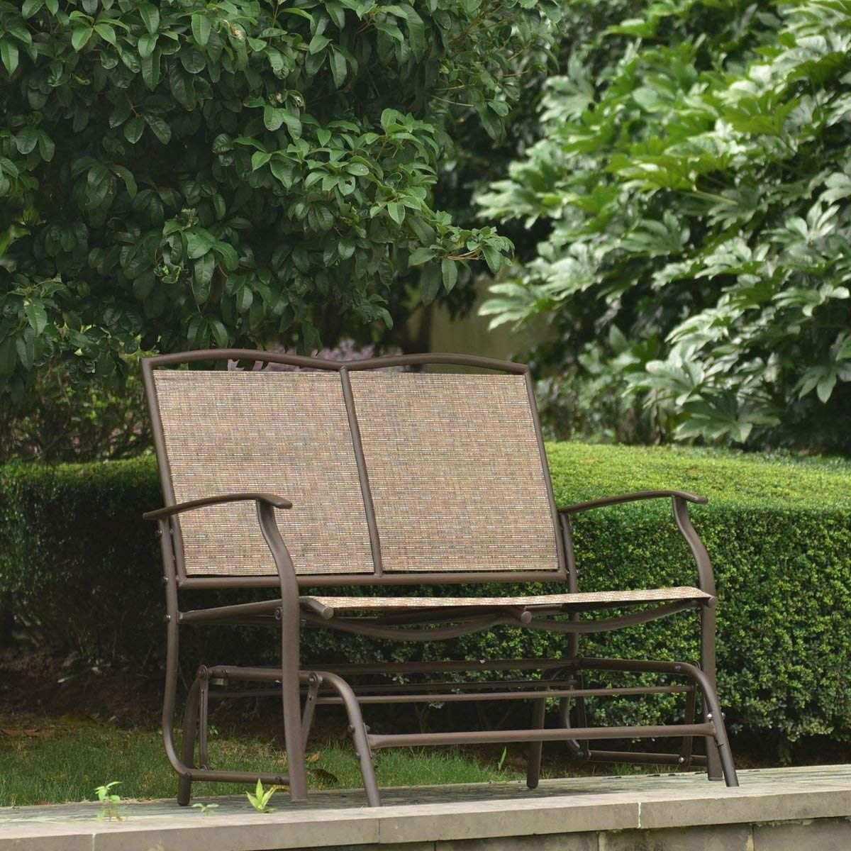 Leissu TRC-201 Balançoire de balançoire de patio, causeuse extérieure pour 2 personnes, fauteuil à bascule, brun