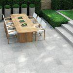 Les carreaux de terrasse en pierre naturelle renforcent l'espace extérieur