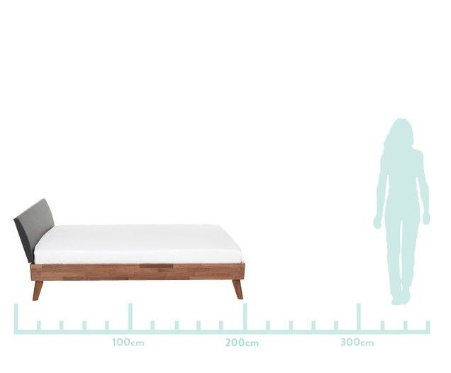 Lit Caprile en bois massif avec tête de lit rembourrée en cuir synthétique