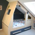 Lit cabane enfant sur mesure avec rangements sous comble n°26 Lebeau Meuble Cr...