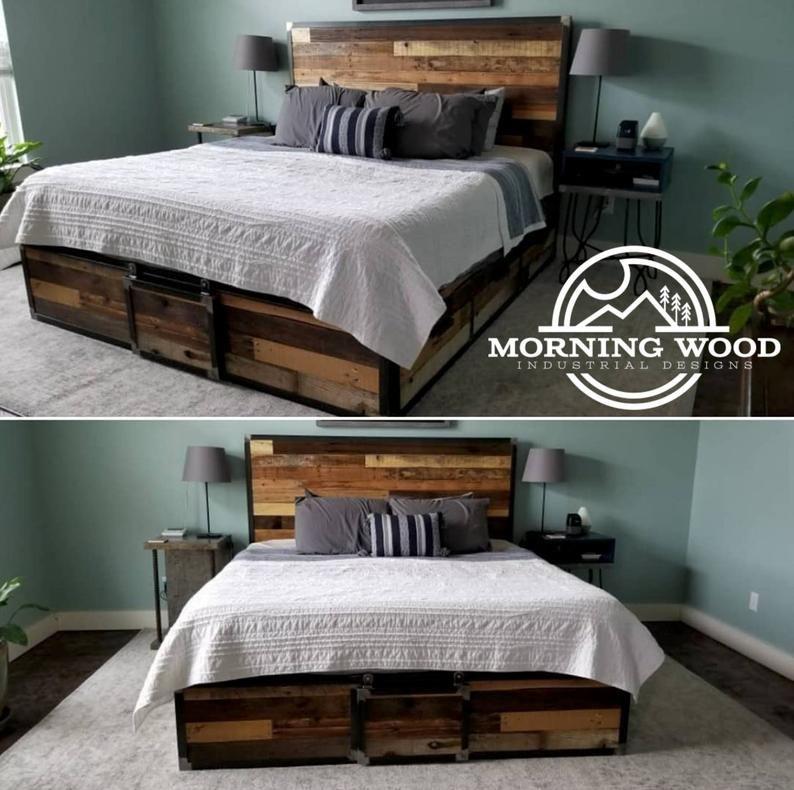 Lit de rangement à plateforme en bois de récupération industriel
