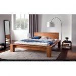 Lit futon / lit en bois massif noyer pin massif A10, avec sommier à lattes - dimensions 140 x