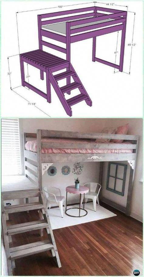 Lit mezzanine bricolage pour enfants # Treillis de travail en bois #DIYforkids # lit de ferme #pièce de travail …