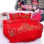 Lit rond rouge Kit de literie de mariage de style chinois Super King Size 9 Pieds ...