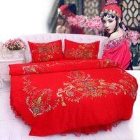Lit rond rouge Kit de literie de mariage de style chinois Super King Size 9 Pieds …