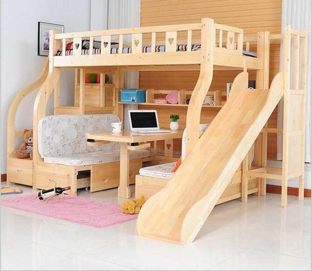 Lits pour enfants multi-fonctions environnement enfants lits superposés lits en bois avec bureau tiroir coulisses tiroir Lit pour enfants