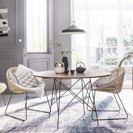 Lot de 2 chaises en rotin et métal BOHEMA
