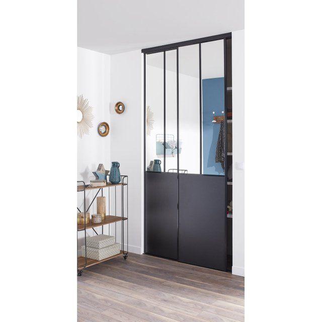 Lot de 2 portes de placard coulissante miroir / noir l.120 x H.250 cm