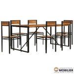 Lot table salle à manger et 6 chaises Industriel Laura