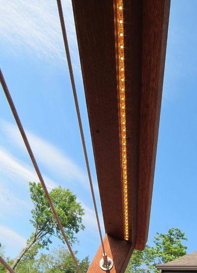 Lumières LED et idée de garde-corps de pont de câbles