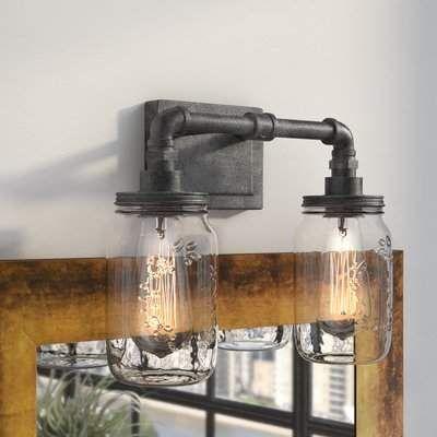 Luminaire de salle de bain à 2 lampes de la collection Brys Rustic, noir rustique   Wayfair