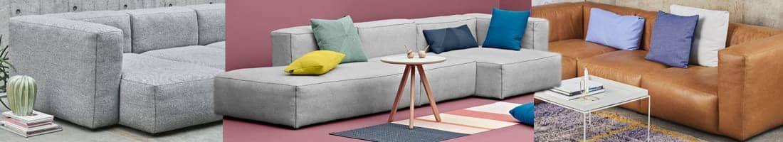 MAGS SOFA SOFT, avec coutures inversées, HAY, tissus et cuir: créez votre propre canapé, HAY