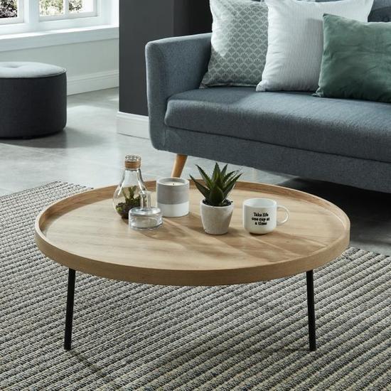 MOON Table basse ronde style industriel décor chêne et pieds métal noir laqu…