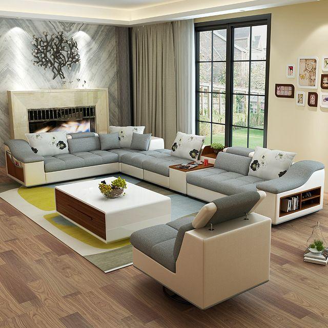 Magasin en ligne meubles de salon moderne en forme de U en cuir tissu canapé d'angle canapé sectionnel mis canapés design pour le salon avec pouf   Aliexpress Mobile