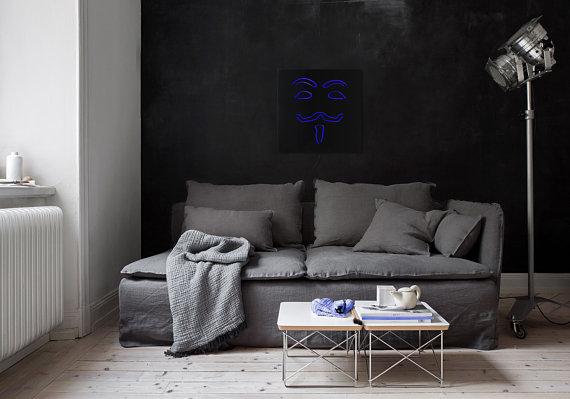 Man cave Applique style néon LED Technologie Anonyme LED // Décor moderne // Art Mural // Adaptateur de courant universel // Livraison gratuite