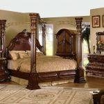 Mc Ferran B9099 5 pièces Astoria grand alexandria cerisier brun finition bois reine 4 baldaquin ensemble de chambre à coucher