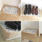 Meuble à chaussures DIY en bois et pierres de Silke Giesen #diyproject #boottray