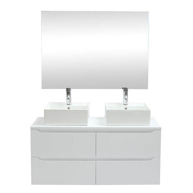 Meuble de salle de bains avec double vasque, miroir et rangements blanc LOTA – M…