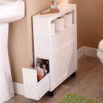 Meuble de salle de bains mince avec roulettes, étagère ouverte à 2 tiroirs Space Saver - #BadSc ...