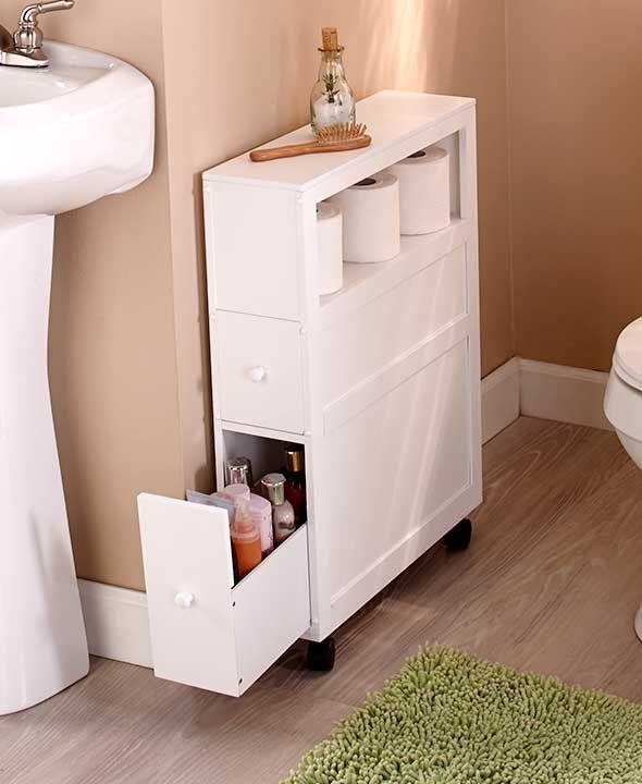 Meuble de salle de bains mince avec roulettes, étagère ouverte à 2 tiroirs Space Saver – #BadSc …
