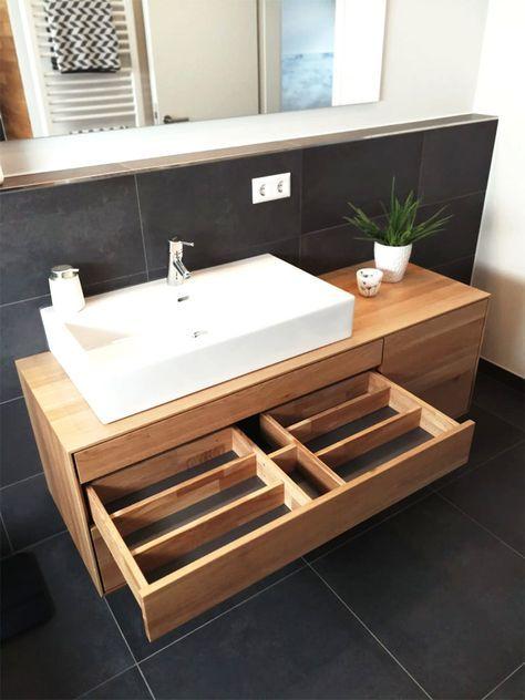 Meuble sous lavabo, en bois, moderne, massif, en chêne, sous meuble, sous plancher …