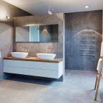 Meubles blanc et bois et salle de bain béton ciré- penthouse de luxe