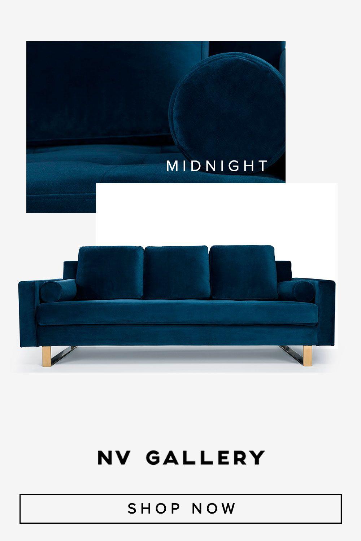 Minuit | Canapé moderne en velours bleu