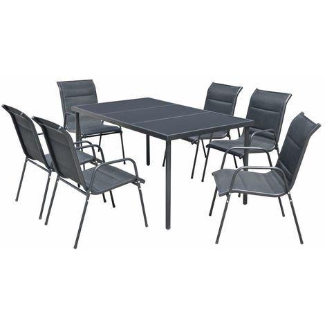 Mobilier de salle à manger d'extérieur 7 pcs Acier Noir – VIDAXL