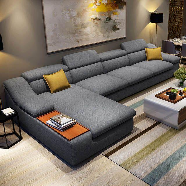 Mobilier de salon canapés d'angle sectionnels en tissu en forme de L mis canapé design moderne pour le salon avec ottoman chaise longue