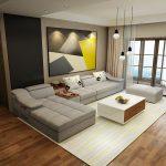 Meubles de salon moderne en forme de L tissu sofa sectionnel ensemble conception...