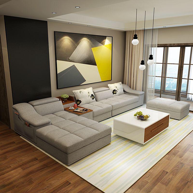 Meubles de salon moderne en forme de L tissu sofa sectionnel ensemble conception…