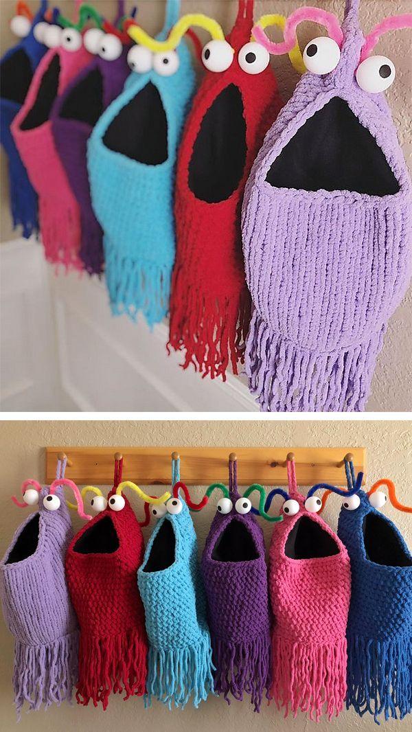 Modèle de tricot gratuit pour paniers suspendus Yip Yips – Rangement suspendu souple