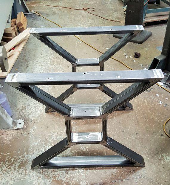"Moderne, Table à manger ""X"" Jambes, Modèle TTSOLD, Heavy Duty Metal Legs, Industrial Legs from 3″ x 1″ Tubing"