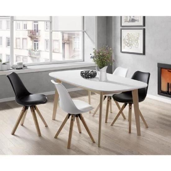 NAISS Table à dîner extensible de 6 à 8 personnes scandinave + mélaminé blanc …