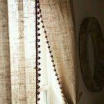 Natural burlap curtain panel with pom pom trim/ country farmhouse drapes living room decor /Rod pocket/1 panel /nursery kids living
