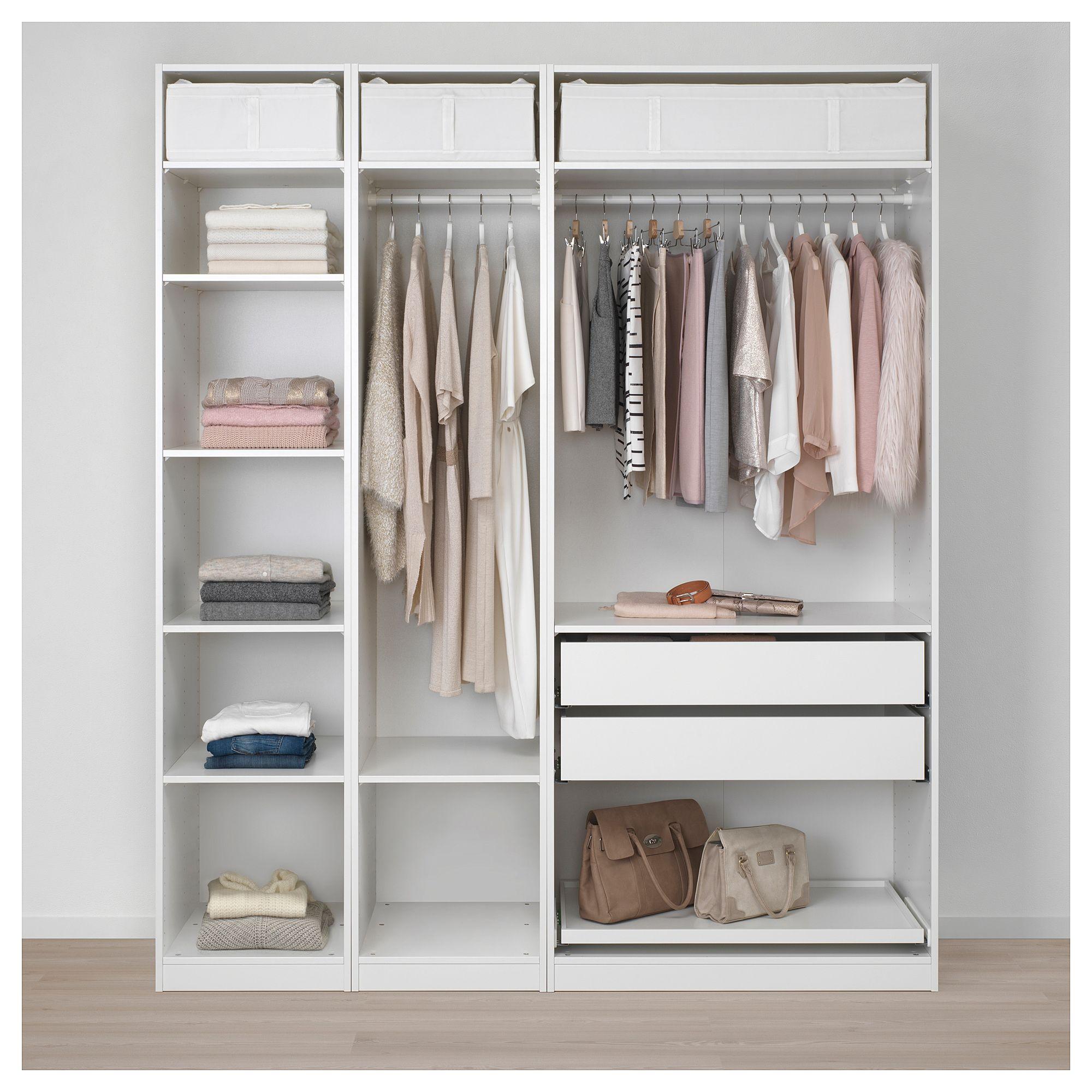 PAX Armoire-penderie – blanc, gris-vert pur – IKEA