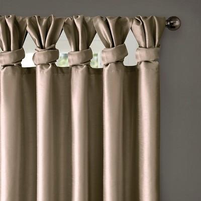 """Panneau de rideau doublé à languettes torsadées Lillian taupe 50 """"x95"""", Taille: 50×95 """", Marron"""