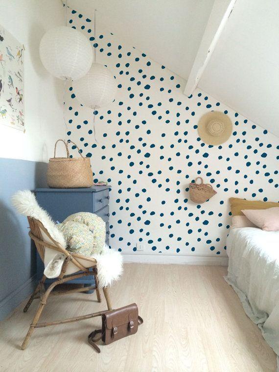 Papier peint amovible temporaire en vinyle auto-adhésif, sticker mural – Papier peint à pois bleu marine – 090