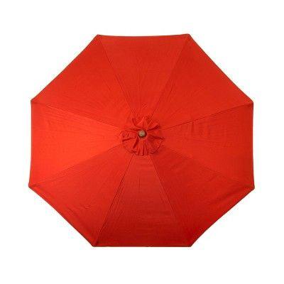 Parasol Parasol de terrasse classique en bois, 9 pi, rouge