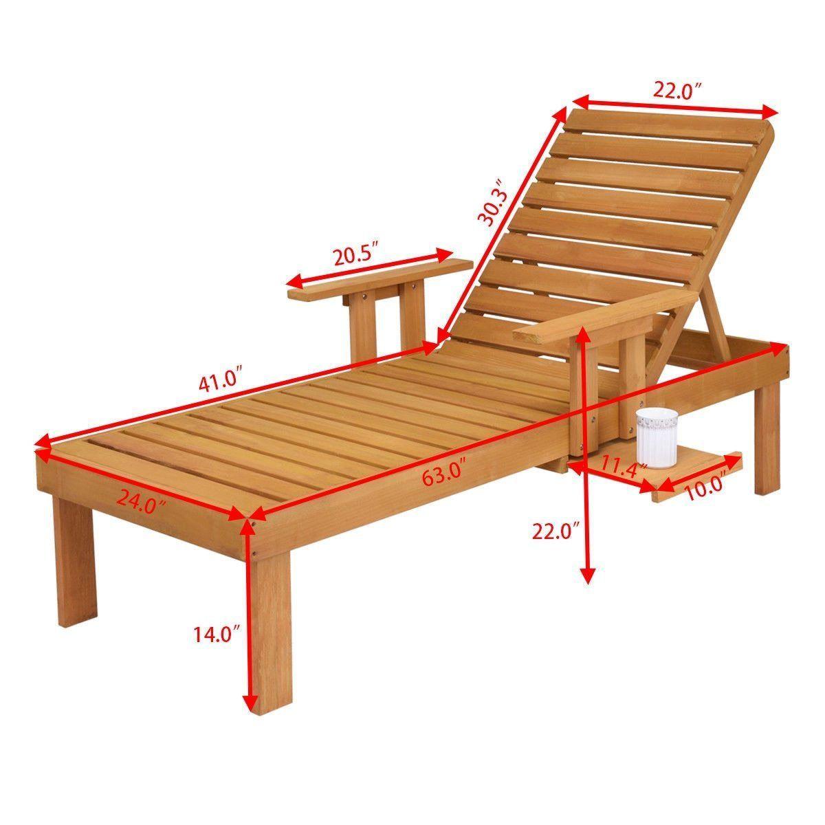 Patio lounger chaise sun outdoor furniture garden side tray deck chair modern wood beach lounge